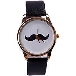 "HDE Analog ""I Mustache You the Time"" Wrist Watch with Black Shiny Wet Look Wrist Band"