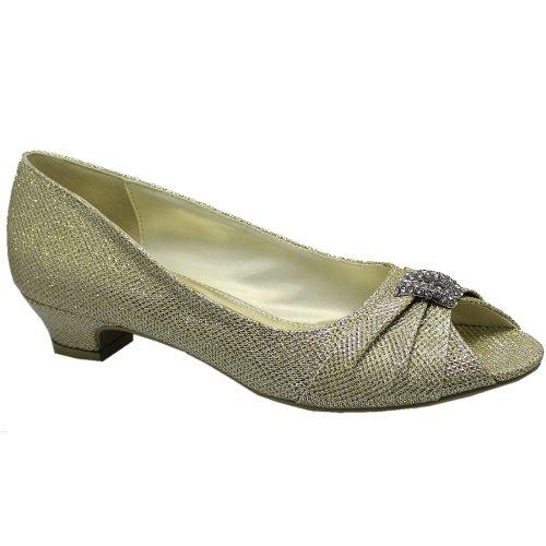 dames femmes talon bas brillant paillettes diamante peep toe bal mariage fête chaussures taille Or