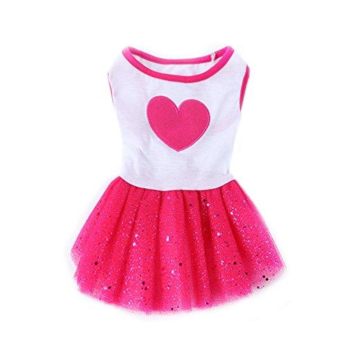PanDaDa Haustier-Hundekatze-Garn-Rock (weißes Pfirsich-Herz + Blitz-Film-Rosen-rote Spitze-Ordnung) Nettes Prinzessin-Sommer-Kleid-Hundehochzeits-Kleid