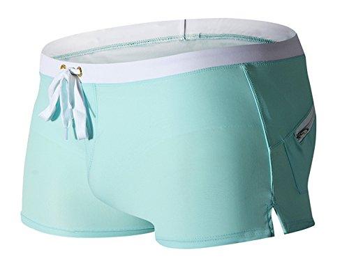 Panegy Herren Badehose Badeshorts Schwimmhose Wassersport Beiläufige Kurz Hose mit Kordelzug Rückentasche S M L XL Hellblau