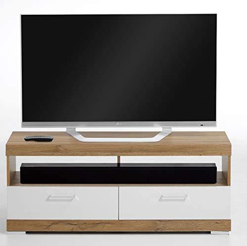 PEGANE Meuble TV en Panneaux de Particules Coloris chêne Ancien/Blanc Brillant - Dim : L.120 x H.50 x P.35 cm