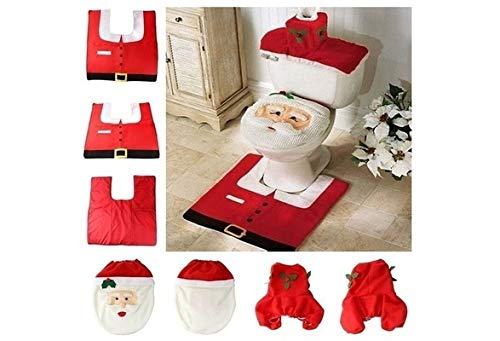 Yissma Weihnachten Badezimmer, WC-Sitze Sitzbezug, Toilettensitzbezug Badematten Set Toilettendeckelbezug WC Weihnachtsdeko