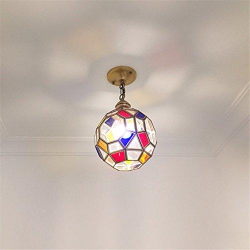 BRIGHTLLT Deckenlampe voll Kupfer europäischen Gang Guanzhong Lampen Balkon American Foyer Bar Bar Lampe kleine Kronleuchter, 200 * H200mm - Kleines Foyer Kronleuchter