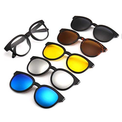 hlq Men es Sonnenbrille, Universal Outdoor Gläser, UV400 Polariisierte Lens Retro Magnetic Clamps Sichtbare Lichtperspektive 99% Ultra Light 6 Piece Set,9010