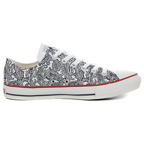 stomized - personalisierte Schuhe (Handwerk Produkt) Black & White Paisley Size 36 EU ()
