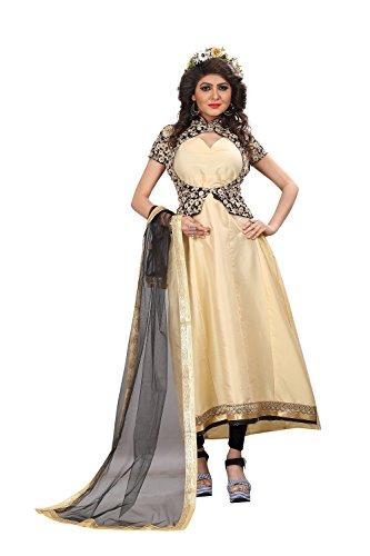 Queen Of India Women's Cotton Silk Semi-Stitched Lehenga Choli (Beige,Free Size)