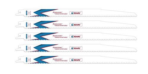EZARC Säbelsägeblätter R1222DH for Holz Demolition 300mm 6TPI (5 Stück)