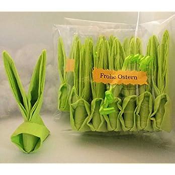 Servietten Osterhasen, 12 er Set in hellgrün,ca.11 cm hoch, zur Tischdekoration oder als nettes Geschenk/Mitbringsel