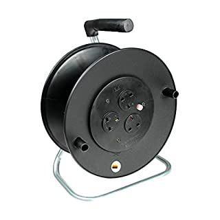 as - Schwabe 610108 13 A 3-Socket Open Cable Reel with Thermal Cut-Out - Black