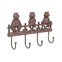 forestfox Garden Tool Hanging Hook. Frogs Wall Mounted. For Keys, Clothes. Cast Iron. New