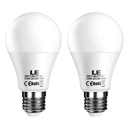 Glühbirnen Dimmer (LE 2er E27 dimmbar led Lampe, 9W ersetzt 60W Glühbirne, A60 led Birnen, 800lm 2700K Warmweiß, 3 Dimmstufen, 200° Abstrahlwinkel)