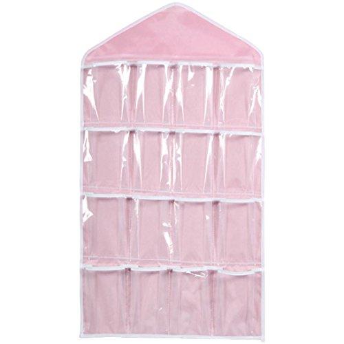 Masrin 16Taschen, mit Tasche, Socken, Unterwäsche BH-Kleiderbügel-Organiser, rose, 71*39cm (Mesh-schublade-storage Box)
