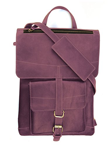 Chalk Factory Genuine Leather Convertible Backpack / Messenger Bag with Detachable charger Pocket Custom made for Lenovo ThinkPad E450 Laptop #CNVRTBL, Cherry