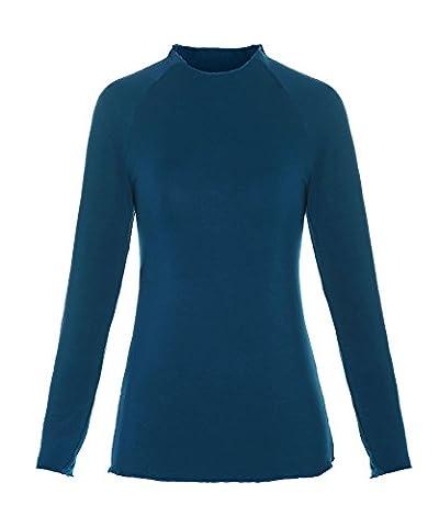 ReliBeauty Damen Basic Langarmshirt Raglan Ärmel Mock Neck Oberteil Einfarbig T-Shirt Tunika Tops, Peacock Blau, 38