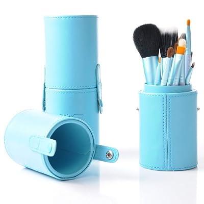 Housweety un juego de 12 brochas / cepillos Cosmético para Maquillaje y un tubo de piel azul de Housweety