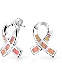 Bling Jewelry Brust Krebs Awareness Opal Rosa Farbband 925 Silber Ohrstecker