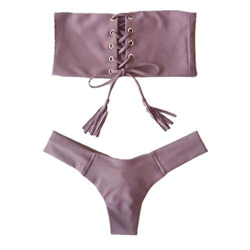 FY Damen Mädchen Bademode Bandeau Bikini Bandage Rock Psychische Gepolsterte Push Up Fransen Elegante Sommer Strand Urlaub Swimwear Grau