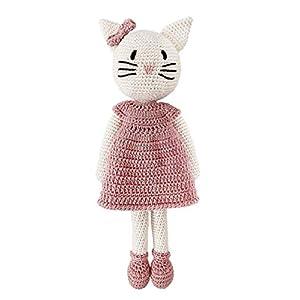 LOOP BABY – gehäkelte Katze Kati – Häkelkatze rosa Ballerina aus Bio-Baumwolle – waschbar – Häkelpuppe Katze – weiße Katze mit rosa Kleid