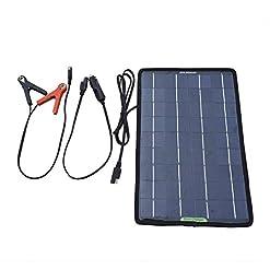 eco-worthy, pannello solare portatile, batteria di ricambio e caricabatterie per auto e barca, con clip a coccodrillo, adattatore, nero, 10W 12Volt