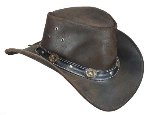 Elreno Scippis–Sombrero de cuero estilo oeste (M/56-57–Marrón).