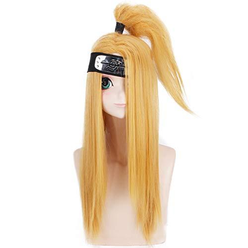 LACKINGONE Naruto Deidara Halloween Cosplay Blonde Yeellow Stttraogjt Wig Halloween