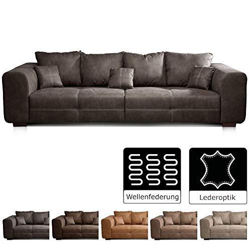 Cavadore Big Sofa Mavericco / Big Couch im modernen Design  in Lederoptik / Inklusive Rückenkissen und Zierkissen / 287 x 69 x 108 cm (BxHxT) / Mikrofaser Anthrazit