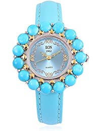 EON 1962 Japanese Movement SLEEPING BEAUTY TURQUOISE 15.00 Ct , Turquoise Dial Water Resistant Watch in Rhodium and Gold Overlay Sterling Silver with Steel Turquoise Leather Strap Silver wt 18 Gms