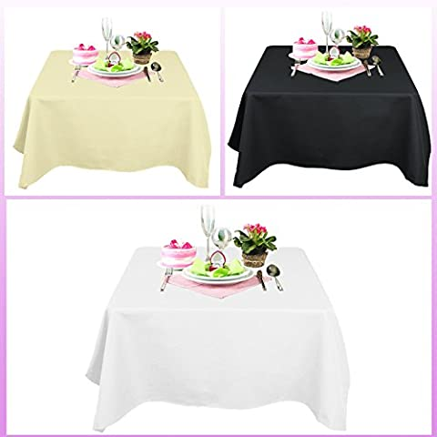 TtS 177cmX177cm Quadratisch Tischdecke Polyester Tischtuch Tafeltuch Hochzeit Party Garten Küche Esszimmer (Schwarz Premier Tischdecken)