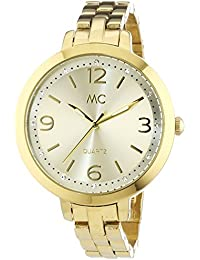 MC Timetrend Damen-Armbanduhr gelbgoldfarben, mit Kristallsteinen, Metallband, Analog Quarz 51293