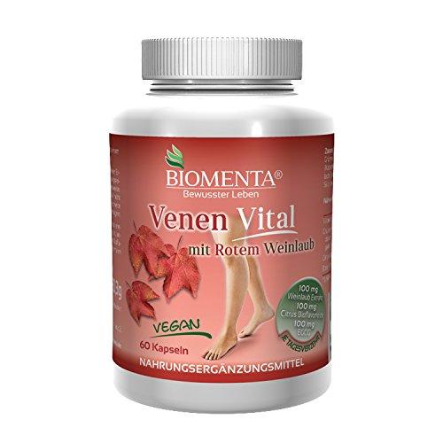 Vital-tablette, Vitamine (BIOMENTA VENEN VITAL – VEGAN – rotes Weinlaub (Rutin + Quercetin + Flavonoide + Polyphenole) + Grüntee Polyphenole – 60 Venen-Tabletten)