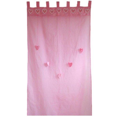 Taftan - tende in rayon con anelli, motivo cuori, dimensioni 100 x 280 cm, colore: rosa