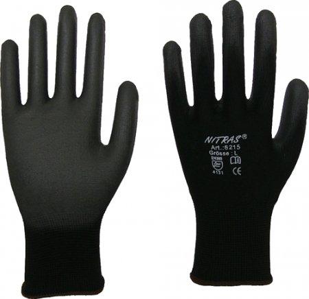 12 Paia di guanti da installazione in Nylon NITRAS 6215 nero PU Guanti Tgl XL (9)