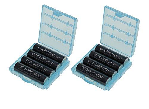 Eneloop XX - Pilas AA (2550 mAh, tecnología eneloop, mínimo 2450 mAh, incluye 2 estuches para pilas)
