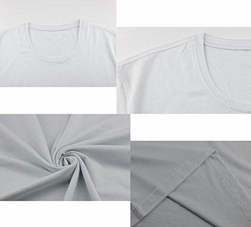 QIYUN.Z Männer Beiläufige Kurze Hülse Normallack T-Shirt Weiß/O-Neck