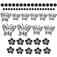 Möbeltattoos - Schmetterlinge Hibiskus - 55er Set