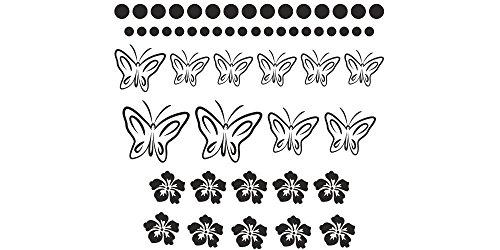 Möbeltattoos - Schmetterlinge Hibiskus - 55er Set (Klassische Küchen Schränke)