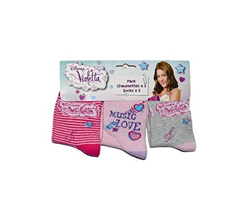 Disney Violetta 3er Pack Kinder Socken Set (4929) Bequeme Strümpfe für Jungen und Mädchen aus Baumwolle mit Disney Violetta Motiven, Pack#2, Gr. 23/26