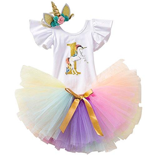 Einhorn 1. Geburtstag Party Outfit Kleinkinder Erster Geburtstagskleid Tütü Prinzessin Rock Kurzarm Strampler Blumen Stirnband 3tlg Fotoshooting Kleidung Geschenk Outfits Set ()