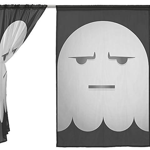 jstel Lot de 2voile rideau fenêtre, Happy Halloween fantôme mignon Spooky cimetière chauve-souris citrouille sorcière Spiderweb, en tulle Transparent Rideau Drapé Lit 139,7x 198,1cm deux panneaux de, Polyester, bleu, 55x78x2(in)