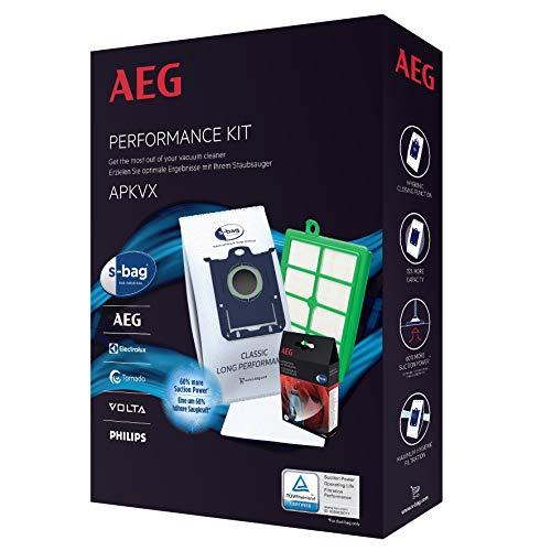 AEG APKVX s-Bag Vorteil-Set: 4X GR 201S Plus s-Filter AEF 12, Motorfilter AEF 54, s-Fresh Duft, Passend u.a. für APF 61, VX 6-2, FC 8371 schwarz (Electrolux Düfte)