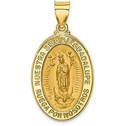 Hermoso oro amarillo 14 K 14 K pulido & satén hueco español señora de Guadalupe medalla colgante viene con un regalo de joyería gratis