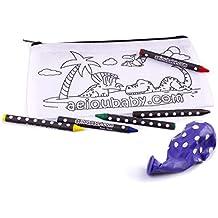 aeioubaby.com 25 Estuches para Colorear | 25 Bolsas Individuales con 5 Ceras de Colores
