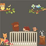 UberLyfe Jungle Animal Forest Wall Stickers Size 4 (Wall Covering Area: 110cm x 140cm) - WS-000152
