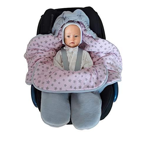 Baby Fußsack Einschlagdecke Maxi cosi Wintersack, Babydecke für Babyschale, Kinderwagen - für Winter aus Fleece/Baumwolle SWADDYL (Rosa)