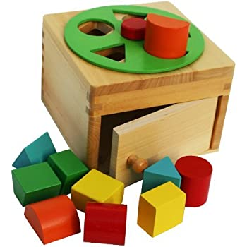 Toys of Wood Oxford Wooden Shape Sorter Box with Rotating Wheel - wooden toys for 1 year old
