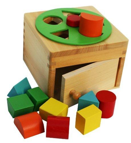 Toys of Wood Oxford Caja de formas de madera - Juegete de madera de clasificación con bloques de formas de madera para aprender formas y aprender colores - Juguete educativo de madera para niños
