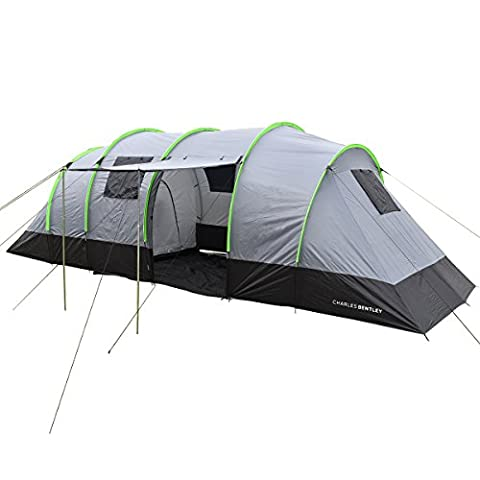 Charles Bentley 8 Person Family Camping Tunnel Tent 2 Rooms