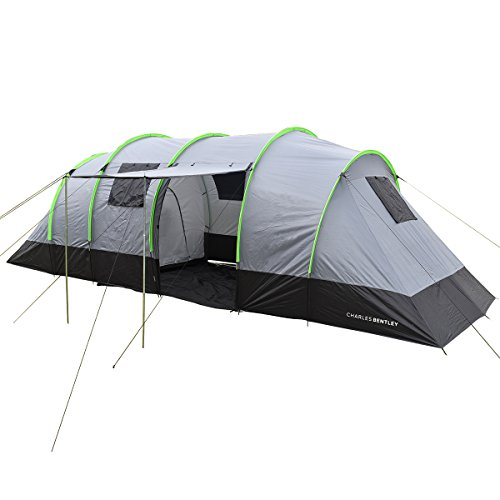 Charles Bentley 8 Person Family Camping Tunnel Tent 2 Rooms Awning L690 x W240 x H220cm - Grey