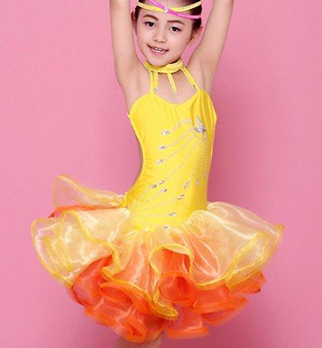 Latin tanzen kostüme mädchen helle diamant quaste tanzen kinder kinder Latin spiel kleidung rosa / gelb / grün , yellow , (Tanz Moderne Mädchen Für Kostüme)