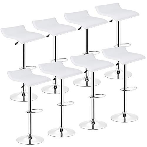 Wefun Barhocker Höhenverstellbar mit Lehne,Verchromter Stahl,Pflegeleichter Kunstleder (Weiß, 8pcs) -
